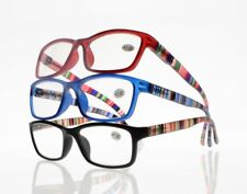 Stylish Full Rim Colorful Stripe Arms Clear Lens Reading Glasses +1.00~+4.00 New