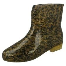 Womens Spot On - Leopard Print Ankle Wellington Boots