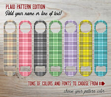 Plaid Pattern Bartender Bottle Opener Add Text/Choose Color & Font FREE SPINNER