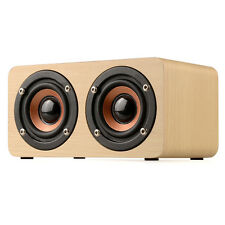 Mini Portable Classic Wooden Speaker Bass Stereo Subwoofer Rechargable With Mic