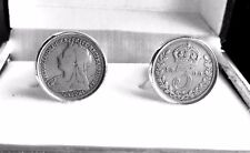 925 SILVER THREEPENCE COINS IN CUFF LINKS. VICTORIA,EDWARD,GEORGEV OR 1932- 1942
