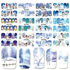 AU 12 Styles Christmas Nail Wraps Polish Stickers Patch Foils Art Decal Adhesive