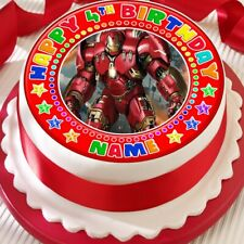 IRONMAN RED PERSONALISED CAKE TOPPER PRECUT DECORATION EDIBLE BIRTHDAY