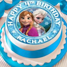 FROZEN PERSONALISED ELSA ANNA EDIBLE CAKE TOPPER DECORATION PRECUT BIRTHDAY