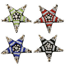Star Shaped Crystal Beads Embroidery Patch Applique Sew on Bag Clothes Pants 6cm
