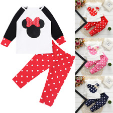 2Pcs/Set Baby Girl Minnie Mouse Bow Tops+Pants Outfit Kids Clothes Costume Suits
