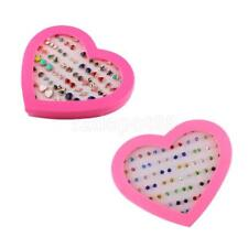 36Pairs Bling Assorted Stud Earrings Bulk for Women Girl with A Pink Heart Box