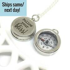 Engraved Compass Necklace, Silver Compass Necklace, Engraved Compass, Silver Com