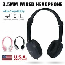 3.5mm Wired Headphone Over-ear Headset Hands-free with Mic for Smart Phones PC