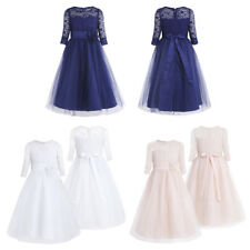 Girls Floral Lace Mesh Dress Princess Kid Pageant Wedding Birthday Party Dress