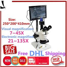 """7-45X Trinocular Stereo Zoom Microscope with Double Boom Stand + 8"""" LCD MonitoSH"""