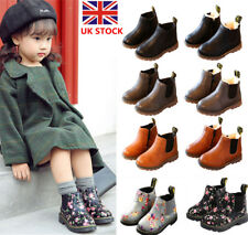 Kids Boys Girls Leather Ankle Chelsea Boots Fur Lined Martin Shoes Snow Boots