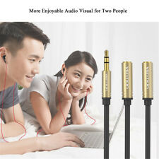 3.5mm Audio Splitter Cable Cord Earphone Headphone Adapter 1 Male To 2 Female