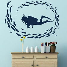 Scuba Diving Wall Stickers! Diver Art Decor Transfer / Sea Fish Vinyl Decal RA10