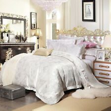 Luxury 4pc. 100% Cotton White Embroidered Queen King Duvet Cover Bedding Set