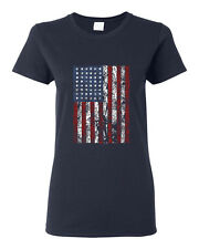 American Flag Distressed Independence Day Navy Blue Cotton Gift Women T-shirt