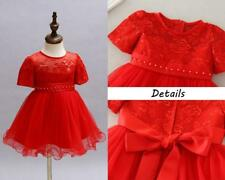 Red Newborn Baby Girl Christening Princess Dress Lace Toddler Kids Baptism Gown