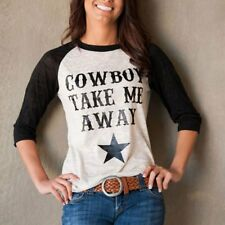 Fashion Woman's Long Sleeve Cow Boy Top Blouse Tee T-Shirts Jumper Pullover