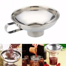 Hot Stainless Steel Wide Mouth Canning Funnel Cup Hopper Filter Kitchen Tool New