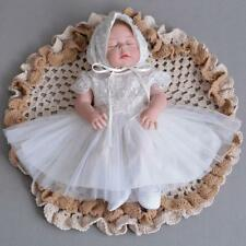 Newborn Baby Christening Dress Girl Embroidery Lace Princess Baptism Dress Gown