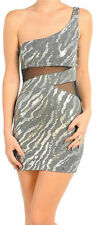 S M L Dress One Shoulder Sequin Animal Zebra Mesh See Thru Sexy Club Silver Gray