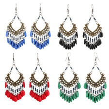 Women Bridal Wedding Vintage Ethnic Bohemian Dangle Beads Tassel Earrings