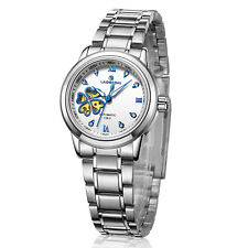 Top Brand Luxury Womens Mens Automatic Mechanical Hollow Lovers Steel Band Watch
