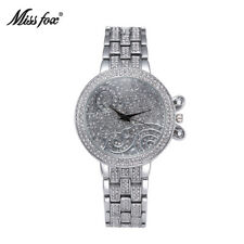 Miss Fox Top Brand Fashion Simple Womens Wristwatch Luxury Diamond Steel Watches