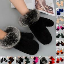 Best christmas gifts womens 100% real mink fur knitted mittens gloves one size