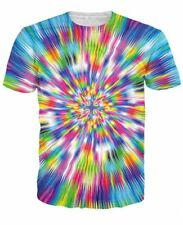 Colorful Warp Speed Short Sleeve 3D Print Graphic Tee Mens Casual T-Shirt 8AE