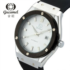 GUCAMEL Fashion Mens Automatic Mechanical Date Wristwatch Silicone Steel Watches