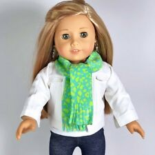 """18 Inch Doll Clothes White Denim Jacket and Scarf fits 18"""" American Girl Winter"""