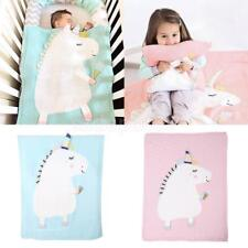 Baby Knitting Wool Blanket Handmade Crocheted Sofa Beach Quilt Rug Unicorn