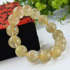 Natural Gold Rutilated Quartz Round Beads Stone Bracelet 7 to 12mm for Gift New