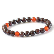 Natural Garnet Agate Round Beads Stone Unisex Stretch Bracelet 8mm for Gift New