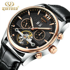 KINYUED Fashion Mens Tourbillon Automatic Mechanical Date Business Leather Watch