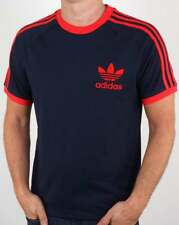 Adidas Mens Trefoil Navy Orange California Crew Neck Retro T Shirts UK S M L XL