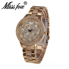 Miss Fox Luxury Women Clover Heart Rhinestone Diamond Female Steel Dress Watches