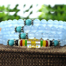 Natural Blue Chalcedony Round Beads Stone Stretch Bracelet 6mm/108 Bead for Gift