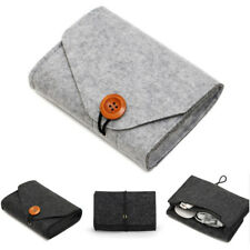 1X Mini Felt Pouch Power Bank Storage Bag For Data Cable Mouse Travel Organizer