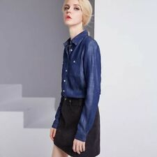 New Spring Tencel Shirt Casual Jeans Blouse Long Sleeve Loose Navy Top Women