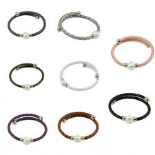 Retro Leather Braide Rope Fresh Water Pearl Wrap Bangle Bracelet Memory Rope