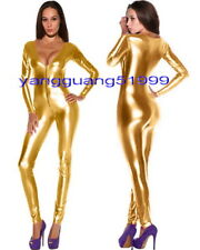 Sexy Shiny Gold Metallic Body Suit Catsuit Costumes Sexy Bodysuit Costumes F048