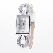 Women Lady PU Wrist Straps Square Rhinestone Quartz Wristwatch Watch Bracelet
