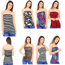 Womens Sleeveless Printed Ruched Boobtube Ladies Strapless Bandeau Vest Top