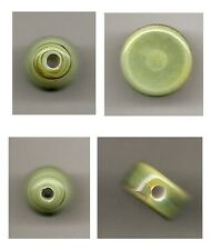 One (1) Mint Green Ceramic Bead: Coin, Round Sphere, 3mm Hole / Jewelry Crafts