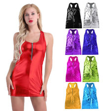 Women Leather Bodycon Sleeveless Clubwear Evening Party Cocktail Short Mini Dres