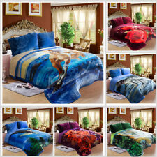 Warm  Borrego Sherpa Blanket Printed 3 Piece Heavy Thick Plush Blanket King 10lb