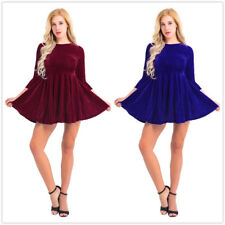 Womens Sexy Shining Velvet Long Sleeve Ruffle Cocktail Party Flare A Line Dress