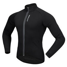 Windproof Cycling Breathable Jacket Long Sleeve Jersey Outdoor Sports Black
